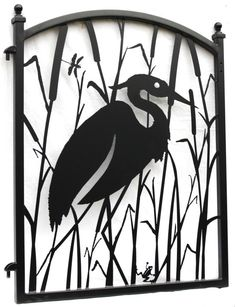 This Heron fence gate is brand new. Ornamental iron garden gate with a metal art infill combines art and function, it has a graceful arched top