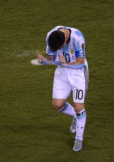 #COPA2016 #COPA100 Argentina's Lionel Messi gestures after missing his shot during the penalty shootout against Chile during the Copa America Centenario final in East...