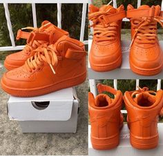 Orange Nike Air Force Ones Customs  by TheLittleFoot on Etsy