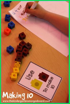 Use cubes to make 10 and write the equation using markers!