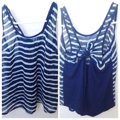 Adorable Top with Bow Back Blue & white stripes. Sheer in the front only. Bow can be untied. Can also fit an xs. Worn a few times in good condition. Really cute on and perfect for summer! Tops