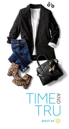 This casual Time and Tru look means business. Feel at ease whether you're at the office or out with friends in a Black Blazer with Cinched Sleeves and Pockets over a cute Casual White Long Sleeve Tee. Winter Outfits Women, Casual Winter Outfits, Fall Outfits, Cute Outfits, Outfit Winter, Girly Outfits, Stylish Outfits, Beautiful Outfits, Walmart Outfits
