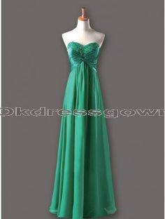 Simple Elegant Sweet Heart Green prom dress with Rhinestones