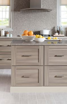 Family-friendly Kitchen Design Tip: Select cabinetry that looks and feels like real wood, but is durable and easy to clean. Martha Stewart Living Kitchens are available exclusively at @homedepot.
