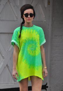 Oversize Neon Yellow Green Tie Dye Summer T shirt Dress top