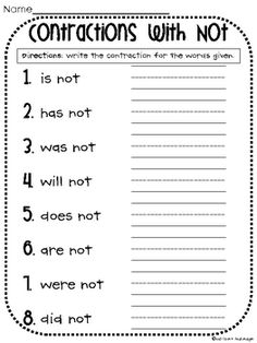 Printables Contractions Grammar Worksheets contractions worksheet ela 1 1st grade english language arts with not worksheet