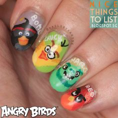 ANGRY BIRDS MOVIE inspired mani & theyre fully hand-painted!