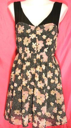 M~Floral Dot Print Shirt DRESS~Vneck~Chiffon~Skater~Tie Keyhole~Rockabilly~Retro #Pinsandneedles #Elasticwaistfullskirtdress #careerparty