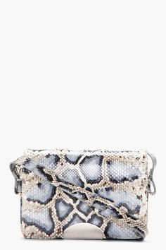 e6a393fe28 Blue   Grey Python Leather Shoulder Bag