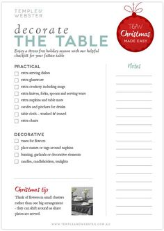 Decorate the table - Christmas checklist Christmas Checklist, Christmas Planning, Christmas Hacks, Christmas Countdown, Christmas Printables, Family Christmas, Winter Christmas, All Things Christmas, Christmas Crafts