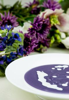 Violet Potato Soup with leeks and Sour Cream