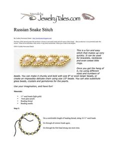 Behind the Scenes at Jewelry Tales™: Russian Snake Stitch - Free pattern!