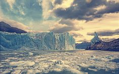 Download wallpapers glacier, blocks of ice, mountain landscape, rocks, Argentino Lake, Perito Moreno Glacier, Argentina, Los Glaciares National Park, Patagonia
