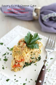 Savory Rice & Cheese Cake Recipe with Spinach & Roasted Red Peppers