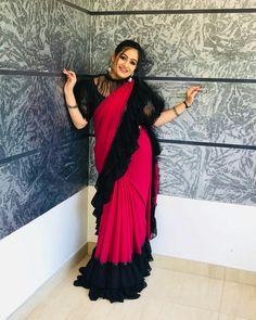 Indian Beauty Saree, Ruffle Blouse, Sari, Chinese, Blouses, Fashion, Saree, Moda, Fashion Styles
