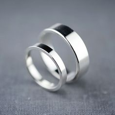 Recycled Sterling Silver Wedding Rings Flat Wedding Bands Wedding Ring Set Alternative Wedding Rings
