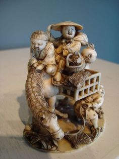 Sambo Kojin Netsuke made out of ivory- Japan - second part 19th century