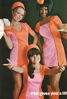 1970's PSA Airlines Stewardess Fashions