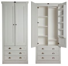 'Introducing Milestone Kitchens Free Standing Wardrobes. The 2 Door Wardrobe with 3 drawers (you may choose 1, 2 or 3 drawers). These images show the wardrobe from the Swedish Style range. The interior of all the Wardrobes are interchangeable between the ranges.'