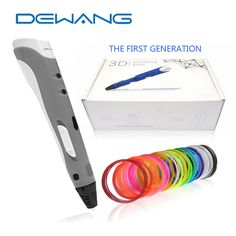 New Type DEWANG 3D Print Pen DIY Gifts for Kids Printing 3D Magic Pen AU/US/UK/EU Plug Children Drawing Pen with ABS Filament #Affiliate