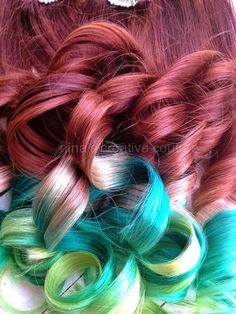 18 Auburn Ombre Hair Extensions Key Lime by NinasCreativeCouture, $225.00
