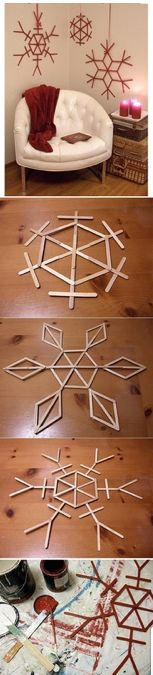 DIY Popsicle Stick Snowflakes for Christmas time Noel Christmas, Christmas Projects, All Things Christmas, Winter Christmas, Holiday Crafts, Holiday Fun, Christmas Ornaments, Christmas Ideas, Christmas Snowflakes