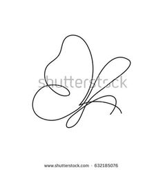 Continuous line butterfly.   Abstract modern decoration. Vector illustration. One line drawing of insect form. Fancy line art. Black and white. Trendy concept for logo, card, banner, poster flyer