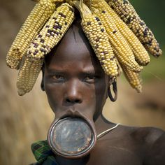 Ethiopia Mursi woman with her giant lip plate, a sign of beauty in Mursi tribe.