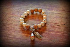 Tribal OM Engraved Wood Beads While Howlite by sweetfreedomshop