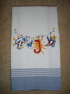 Happy 4th of July Embroidered Clothesline Towel by LynnsCozyQuilts, $8.99