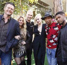 One big family: The new and old crew, including Blake Shelton, Shakira, Adam Levine, Pharr...