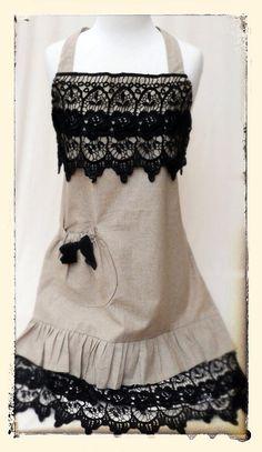 Items similar to Vintage Linen & Rose Lace Apron Black/Ecru on Etsy Retro Apron, Aprons Vintage, Vintage Linen, Apron Designs, Cute Aprons, Linen Apron, Sewing Aprons, Kitchen Aprons, Rose Lace