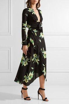 Proenza Schouler - Asymmetric Floral-print Silk-crepe Wrap Skirt - Black - US10
