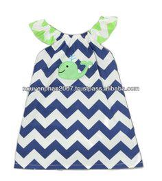 Navy & Green Chevron Whale Baby Girls Dress