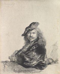 Автопортрет (1639) (207 x 163 мм) (офорт). Rembrandt Harmensz van Rijn (1606-1669)