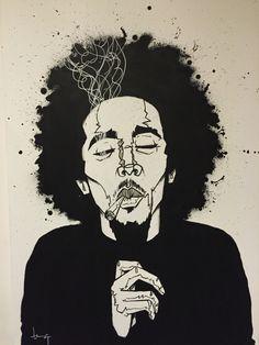 Bob Marley, painting by @kdkammijer! www.kdkammeijer.com
