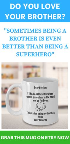 b64ab9f1f6c Gift for Brother from Sister, Brother Coffee Mug, Bro Mug, Elder Brother  Gift