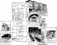 A diagram that appeared in the Chicago Tribune offered readers a look inside the Murder Castle and lurid illustrations of the crematory, the secret rooms, the quicklime pits, and a map that illustrated the layout of the menacing building.