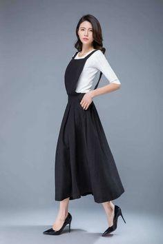 linen pinafore dress black long suspender dresslinen dress