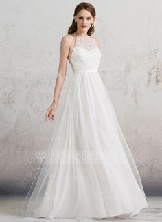 [US$ 164.69] A-Line/Princess Scoop Neck Floor-Length Tulle Wedding Dress With…