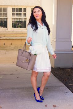 Spring summer ladylike outfit inspiration and Manolo Blahnik Hangisi blue jeweled pumps