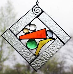 Stained Glass Window Panel Square Mini Multi Colored by LAGlass, $26.50
