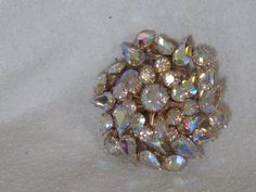 Vintage Rhinestone Brooch AB coating in Sparkling Champagne - THE DANCE. $37.00, via Etsy.