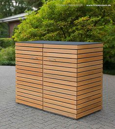 Double trash can cladding CUBUS - branch-free FSC hardwood oiled - with HPL cover . - Double rubbish bin cladding CUBUS – branch-free FSC hardwood oiled – with HPL cover plate (lid) - Garbage Can Shed, Garbage Can Storage, Shed Storage, Storage Bins, Bin Store, Wooden Bookcase, Shed Homes, Shed Plans, Camping Hacks