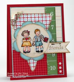 "♥ this gorgeous card by Ann Schach, featuring the little retro ""Campbell's Kids"" cuties - sew sweet!  Also featured are Ann's signature pearls.  ♥♥♥ A+++"