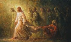 """""""The healing touch"""" by Yongsung Kim 2005. oil on canvas. 80X130cm """"Daughter, your faith has healed you. Go in peace and be freed from your suffering"""" Mark 5""""25~34 Jesus Heals, Jesus Pictures, Pictures Of Christ Lds, Biblical Art, Bible Art, Lds Art, Christian Life, Jesus E Maria, Image Jesus"""