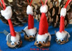 @Trish - Mom On Timeout has created the most adorable Christmas characters ever! They're a little nutty, but so cute. This is an easy Christmas craft that the whole family can enjoy, and you can use them as homemade Christmas ornaments or just regular handmade Christmas decorations.