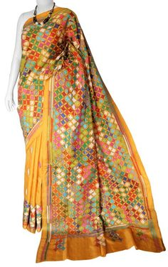 0804afd68657e Goldenrod Kantha Silk Saree with Blouse. Blouse Online ...