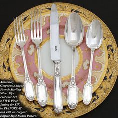 Antique PUIFORCAT French Sterling Silver 30pc Flatware Set, a 5pc Setting for SIX with Knives and Elegant Empire SWANS Pattern