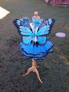 Mariposa Monarca Disfraz Alas Varita Set Halloween Niña 2t-4t Turquesa, Negro